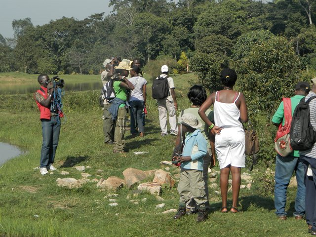 Journalists & Bird Guides at Kasenge Forest
